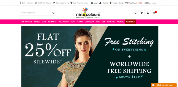 Online Shopping Store - Sarees, Suits, Lehengas, Mens Wear, Kids Wear, Jewellery at Ninecolours
